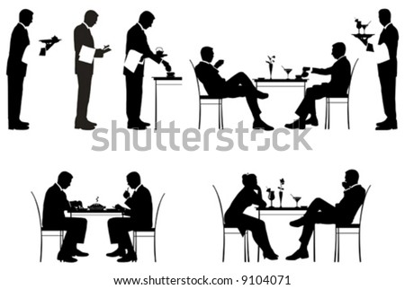 Silhouette of couples and a waiters. Vector illustration.