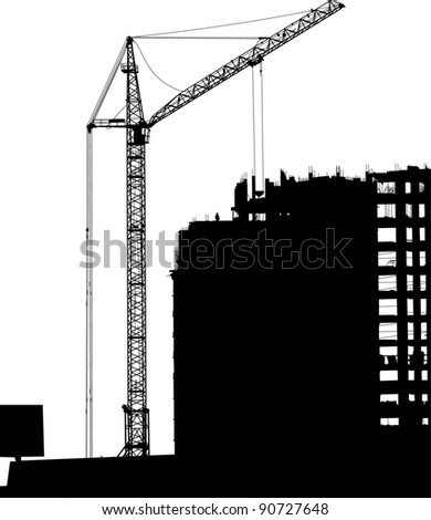 Silhouette of crane working on the building - stock vector