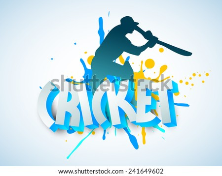 Silhouette of Cricket batsman in playing action with 3D text on sky blue background. - stock vector