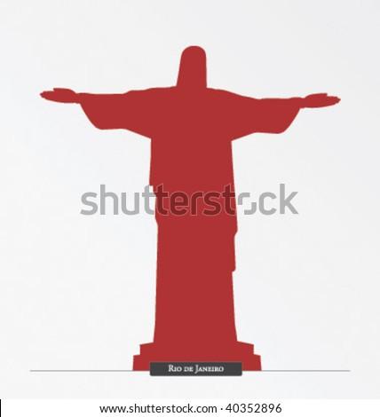 Silhouette of Cristo Redentor, Rio de Janeiro - stock vector