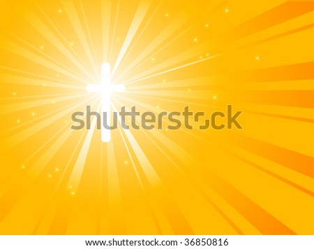 Silhouette of cross with sunburst from his energy
