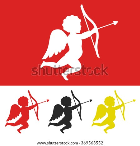 Silhouette of cupid angel with bow and arrow. Vector illustration for Valentine's Day. - stock vector
