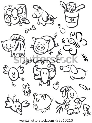 Silhouette of cute animals  for your design. - stock vector
