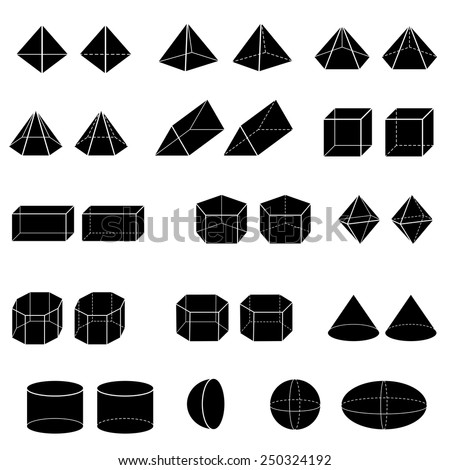 silhouette of 3d geometric for kid vector  - stock vector