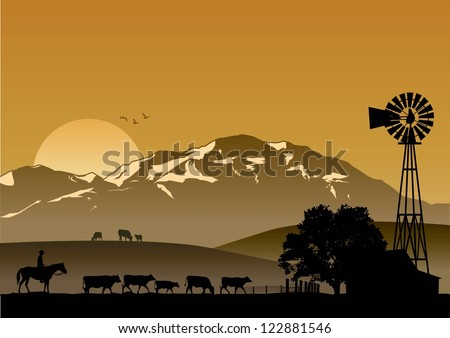 Silhouette of dairy farm at sunset, vector - stock vector