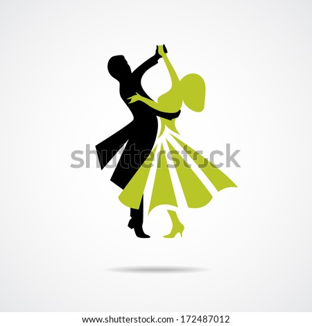 Silhouette of dancing couple isolated on a white background - stock vector