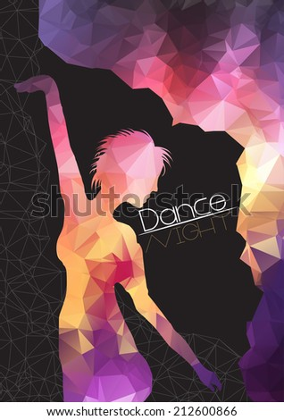 Silhouette of Dancing Woman on Abstract Background Party Flyer Template - Vector Illustration - stock vector