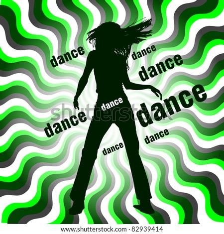 silhouette of dancing woman on wavy background - stock vector