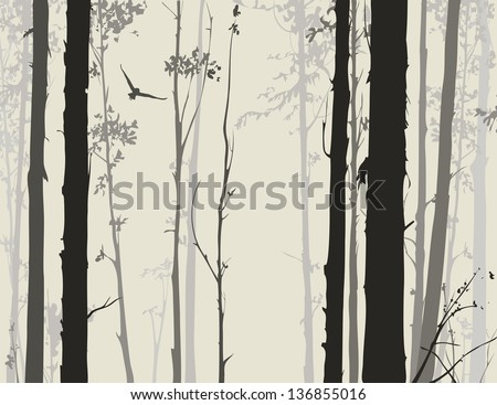 silhouette of deciduous forest with a flying owl 1 - stock vector