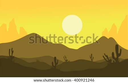 Silhouette of desert and cactus at noon - stock vector