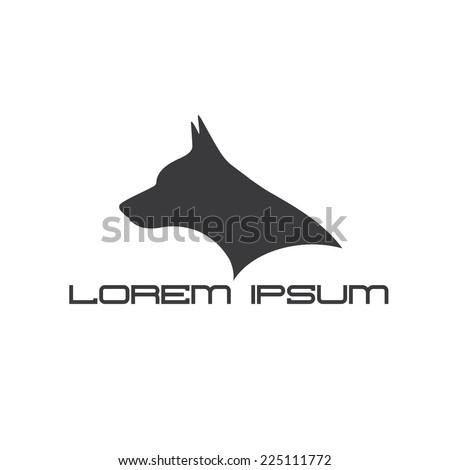 silhouette of doberman dog head - stock vector