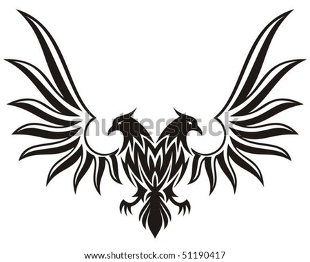 Silhouette of double headed eagle isolated on white - stock vector