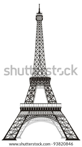 silhouette of Eiffel tower in Paris, isolated o white - stock vector