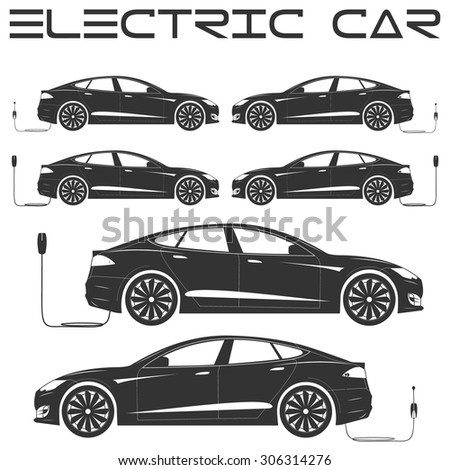 Silhouette of electric car. Side view. Charging.