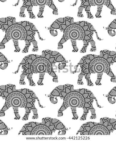 Silhouette of elephant with king`s circular ornament.  Zentagle art. Seamless pattern.