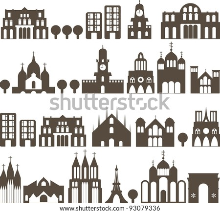 silhouette of european traditional houses - seamless street - stock vector