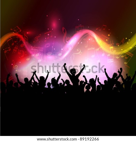Silhouette of excited party crowd on abstract background - stock vector