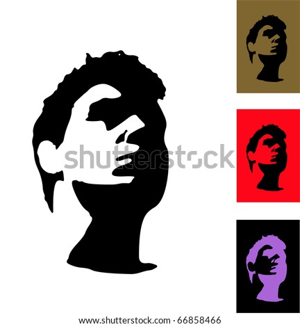Silhouette of face. Stranger. - stock vector