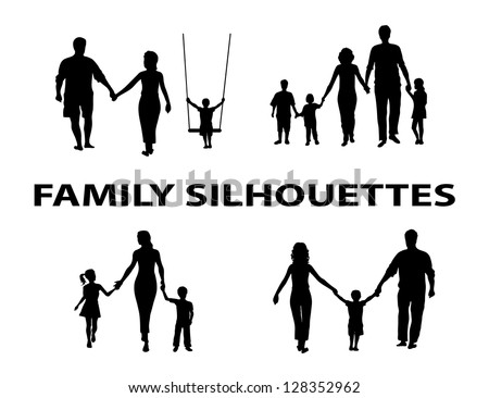 silhouette of family group - stock vector