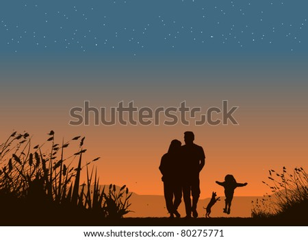 Silhouette of family on sunset - stock vector
