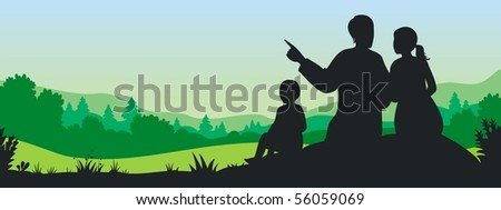 Silhouette of family under green landscape