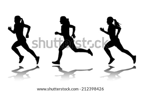 silhouette of female sprinter - stock vector