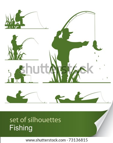 silhouette of fisherman vector illustration isolated on white background - stock vector
