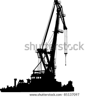 silhouette of floating port crane - stock vector