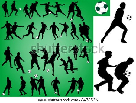 silhouette of football players - stock vector