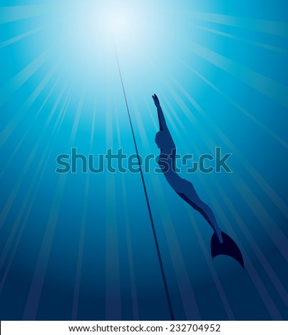 Silhouette of free diver in monofin and rope on a blue sea background. Underwater vector. - stock vector