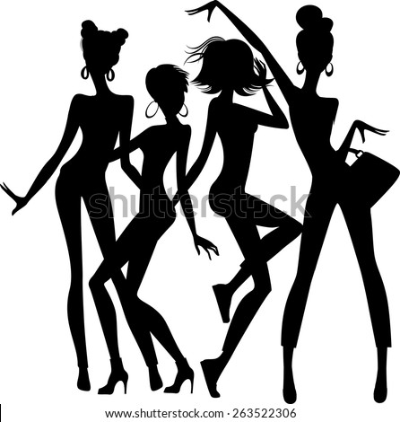 silhouette of funny girls on white background - stock vector