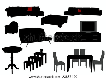 silhouette of furniture - stock vector