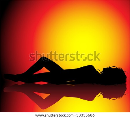 Silhouette of girl sunbathin on beautiful hot background - stock vector