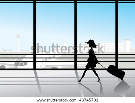 silhouette of girl walking by the airport window - stock vector