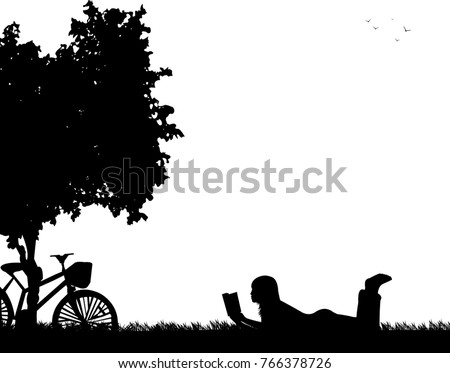 vector silhouette graphic depicting child playing stock