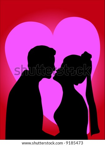 silhouette of groom kissing bride