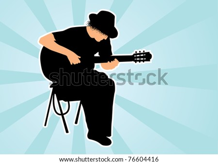Silhouette of guitarist - stock vector