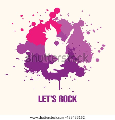 Silhouette of guitarist playing the guitar solo on bright back vector illustration. Lets rock. Rock musician. Rock star man. Concept design of rock and roll music. Illustration of rock star artist - stock vector