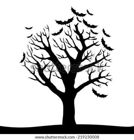 silhouette of halloween tree isolated on white background vector illustration