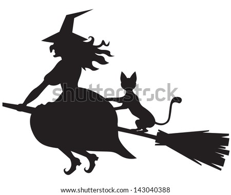 Silhouette Of Halloween Witch With And Cat On A Broom