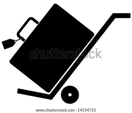 silhouette of hand trolly or cart with luggage on it - stock vector
