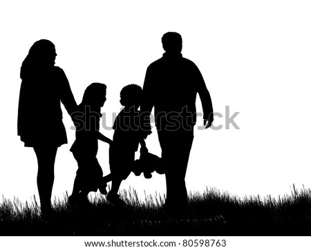 Silhouette of happy family on nature, vector illustration
