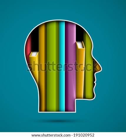 Silhouette of head with books, eps 10 - stock vector