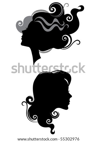 silhouette of heads profile females - stock vector