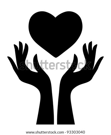 Silhouette of heart and hands - stock vector