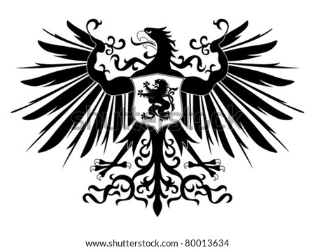 Silhouette of heraldic eagle with shield