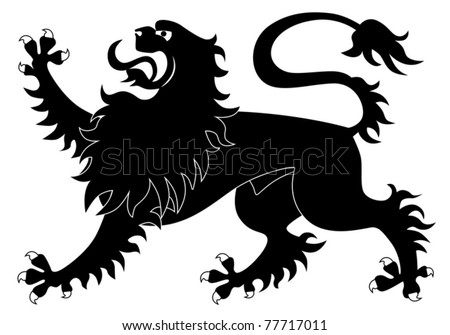 Silhouette of heraldic lion #2 - stock vector