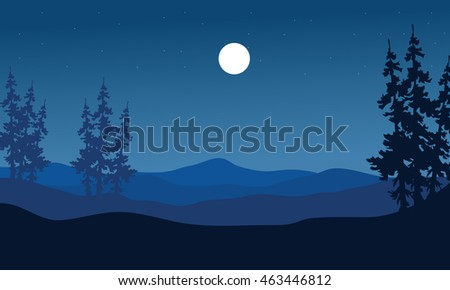 Silhouette of hills on blue backgrounds at night