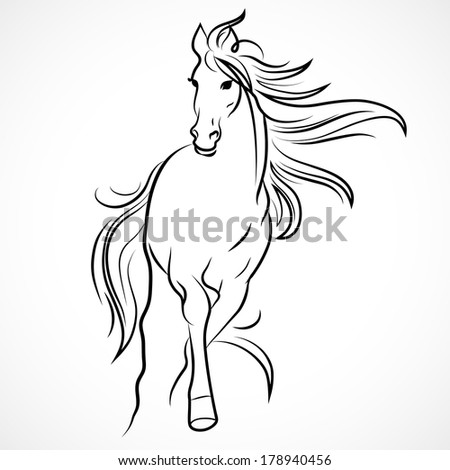 Silhouette of horse. Vector linear drawing - stock vector