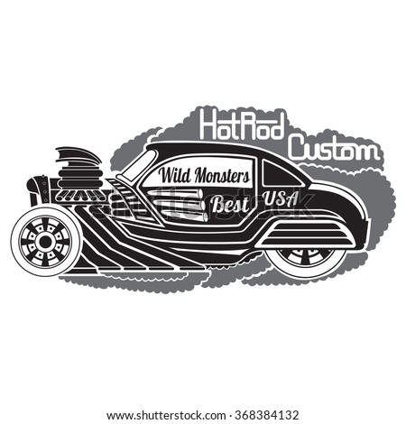 silhouette of hot rod car in smoke with wild monsters custom lettering - stock vector